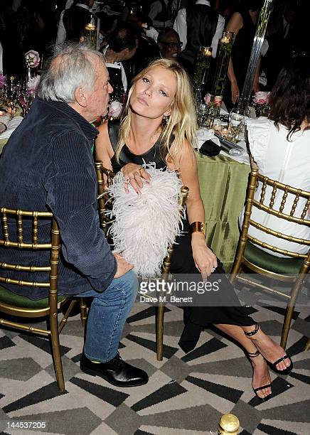 David Bailey and Kate Moss attend the Marie Curie Cancer Fundraiser hosted by Heather Kerzner at Claridge's Hotel on May 15, 2012 in London, England.