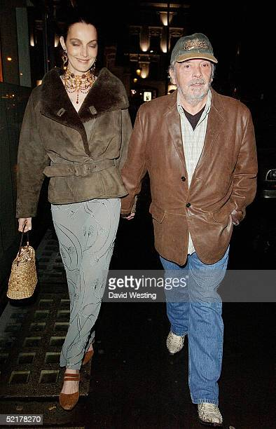 David Bailey and wife Catherine attend the PreBAFTA's Party hosted by Vogue magazine at Cecconni's restaurant on February 10 2005 in London