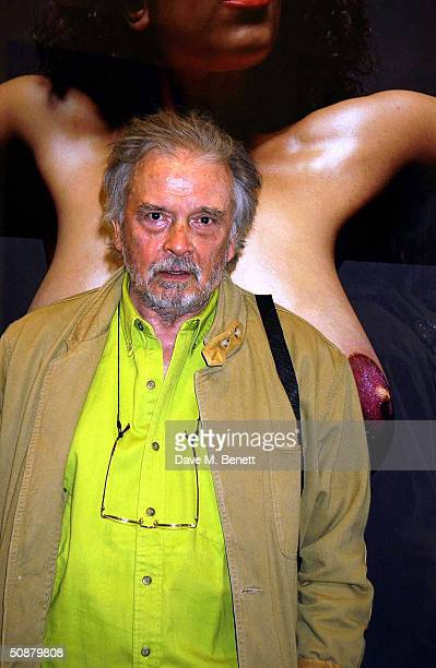 David Bailey attends the private view and party for the new exhibition 'The Stations Of The Cross' by photographer David Bailey and artist Damien...
