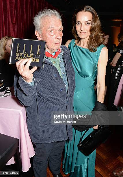 David Bailey winner of Lifetime Achievement and wife Catherine Bailey pose in the winners room at the Elle Style Awards 2014 at One Embankment on...
