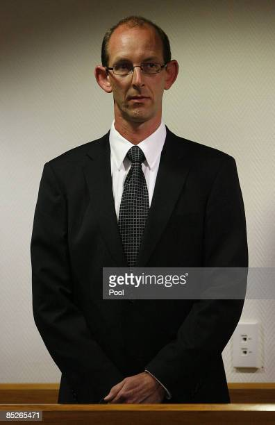 David Bain stands in Christchurch High Court for the first day of his retrial on March 6 2009 in Christchurch New Zealand David Bain was convicted in...