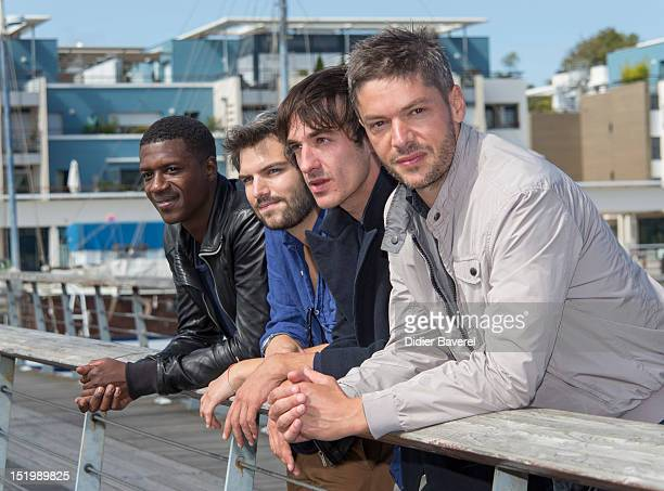 David Baiot Clement Manuel Clement Roussier and Samuel Jouy pose during the 'Ainsi soit il' Photocall at La Rochelle Fiction Television Festival on...