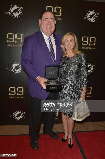 David Baker and Colleen Baker attend The Miami Dolphins 'Hall of Fame Celebration' hosting Jason Taylor at Hard Rock Stadium on December 02 2017 in...