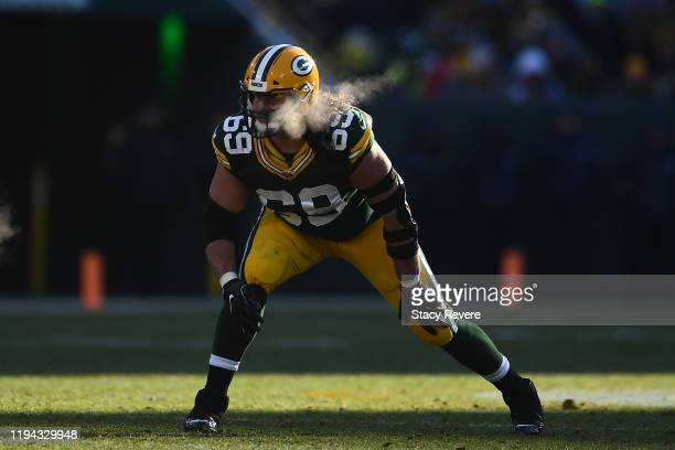 David Bakhtiari of the Green Bay Packers anticipates a play during a game against the Chicago Bears at Lambeau Field on December 15 2019 in Green Bay...