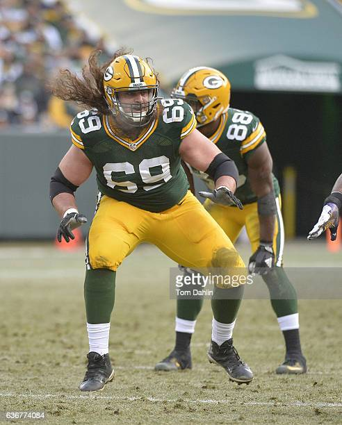 David Bakhtiari of the Green Bay Packers blocks during a game against the Minnesota Vikings at Lambeau Field on December 24 2016 in Green Bay...