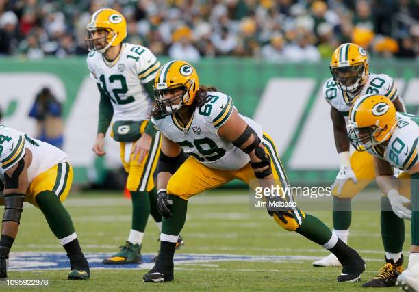 David Bakhtiari of the Green Bay Packers in action against the New York Jets on December 23 2018 at MetLife Stadium in East Rutherford New Jersey The...