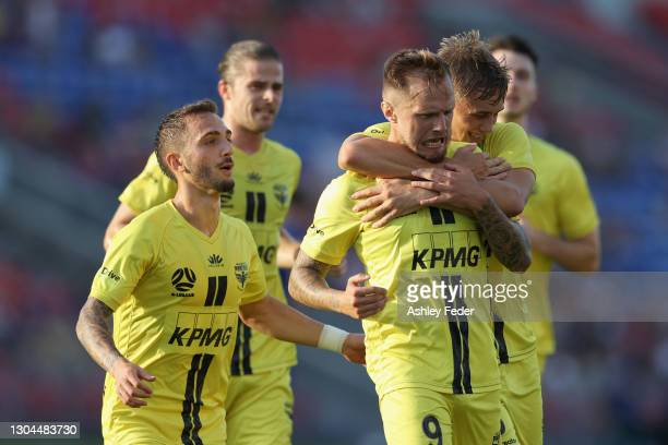 David Ball of the Phoenix celebrates his goal during the A-League match between the Newcastle Jets and the Wellington Phoenix at McDonald Jones...