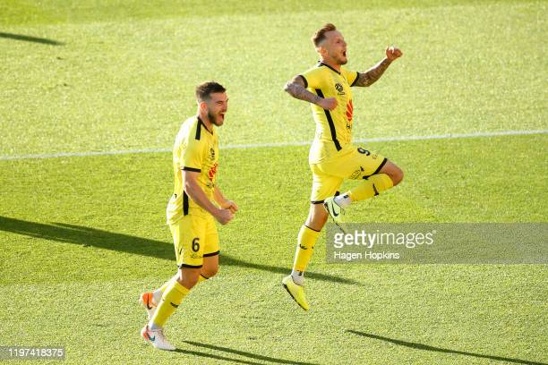 David Ball of the Phoenix celebrates with Tim Payne after scoring a goal during the round 13 A-League match between the Wellington Phoenix and the...