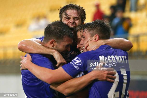 David Ball of the Phoenix celebrates with Tim Payne, Alex Rufer and Callum McCowatt after scoring a goal during the round 20 A-League match between...