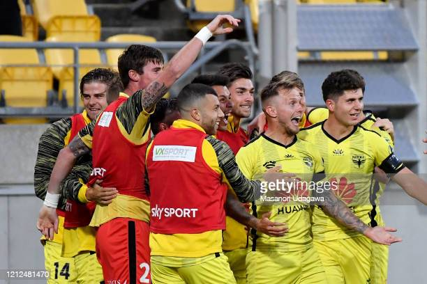 David Ball of Wellington Phoenix celebrates a goal with team mates during the round 23 A-League match between Wellington Phoenix and Melbourne...