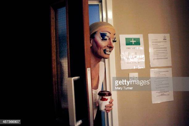 David Ball puts his head around a dressing room door before going on stage at the Churchill Theatre on December 12 2013 in Bromley England David who...