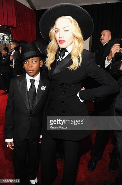 David Banda and Madonna attend the 56th GRAMMY Awards at Staples Center on January 26 2014 in Los Angeles California