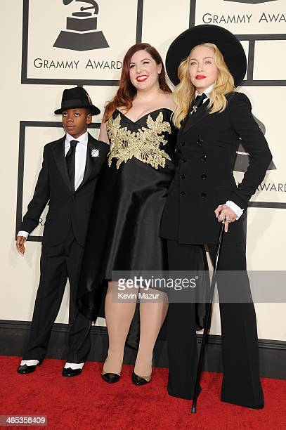 David Banda and recording artists Mary Lambert and Madonna attend the 56th GRAMMY Awards at Staples Center on January 26 2014 in Los Angeles...