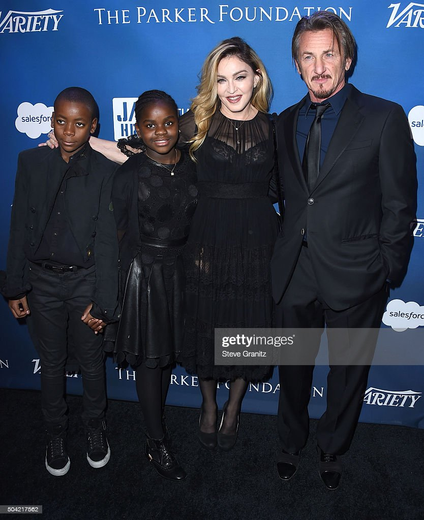 David Banda, Mercy James, Madonna, Sean Penn arrives at the 5th Annual Sean Penn & Friends HELP HAITI HOME Gala Benefiting J/P Haitian Relief Organization at Montage Hotel on January 9, 2016 in Beverly Hills, California.