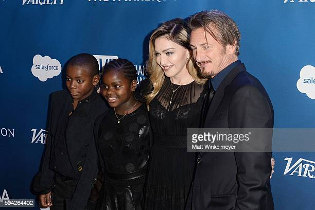 David Banda Mercy James musician Madonna and actor Sean Penn arrive at the 5th Annual Sean Penn Friends HELP HAITI HOME Gala benefiting J/P Haitian...