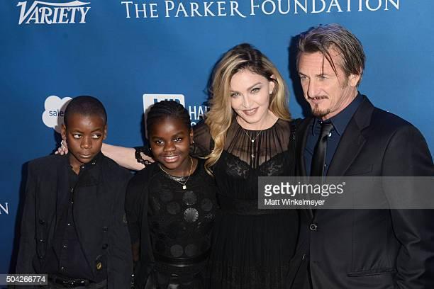 David Banda Mercy James musician Madonna and actor Sean Penn arrive at the 5th Annual Sean Penn Friends HELP HAITI HOME Gala benefiting J/P Haitian...