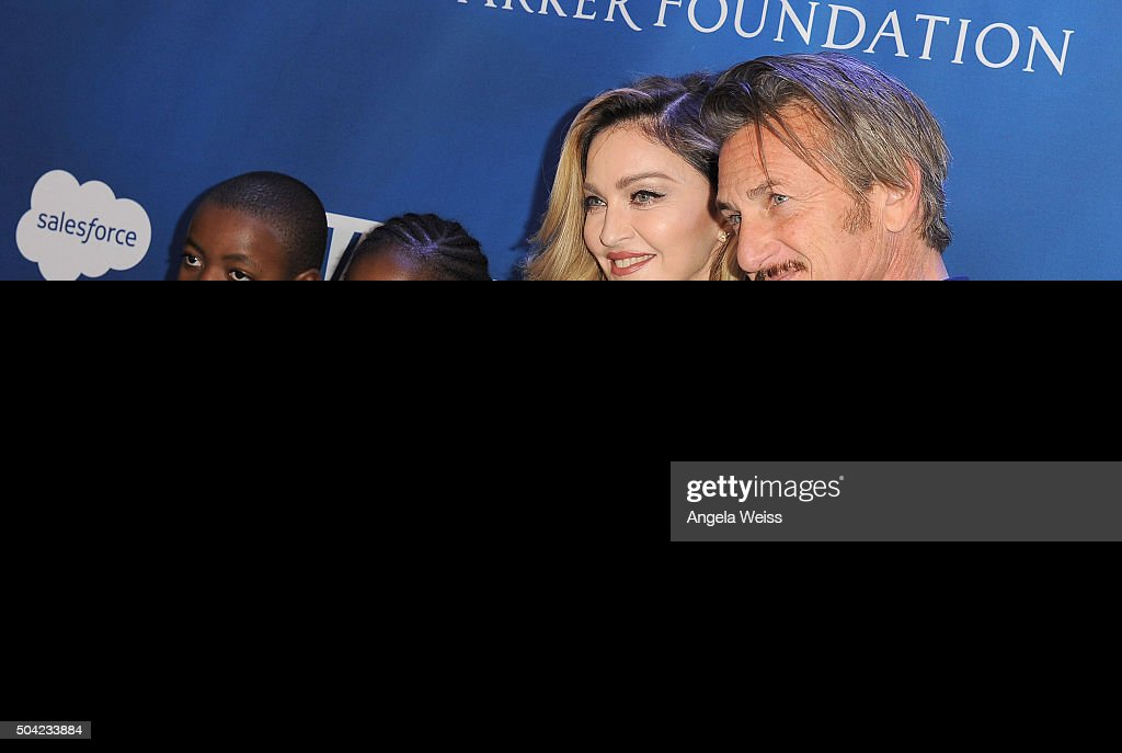 David Banda, Mercy James, musician Madonna and host Sean Penn attend the 5th Annual Sean Penn & Friends HELP HAITI HOME Gala benefiting J/P Haitian Relief Organization at Montage Hotel on January 9, 2016 in Beverly Hills, California.