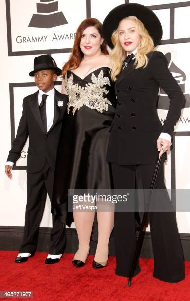 David Banda Mwale Ciccone Ritchie and singers Mary Lambert and Madonna attend the 56th GRAMMY Awards at Staples Center on January 26 2014 in Los...
