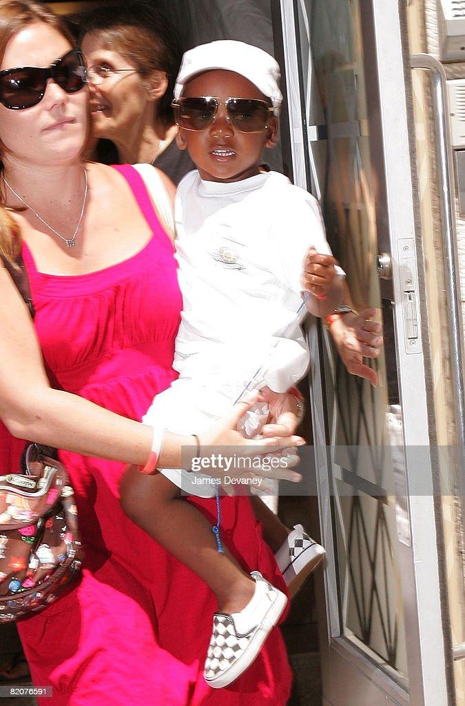 David Banda (R) visits the Kabbalah Center in Manhattan on July 26, 2008 in New York City.
