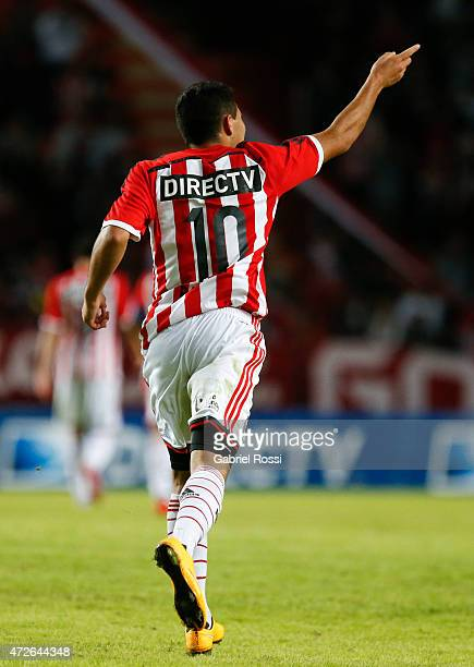 David Barbona of Estudiantes celebrates after scoring the first goal of his team during a match between Estudiantes and Temperley as part of Torneo...