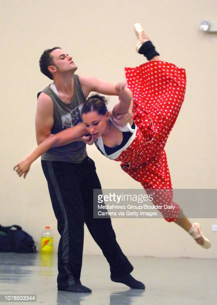 David Barbouor left and Elizabeth Towles leap and swing during the dance choreographed by Sarah Tallman during rehearsal at Ballet Nouveau Colorado...