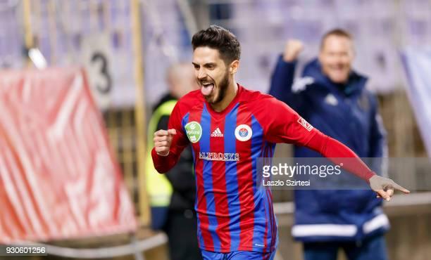 David Barczi of Vasas FC celebrates his goal during the Hungarian OTP Bank Liga match between Vasas FC and Budapest Honved at Ferenc Szusza Stadium...