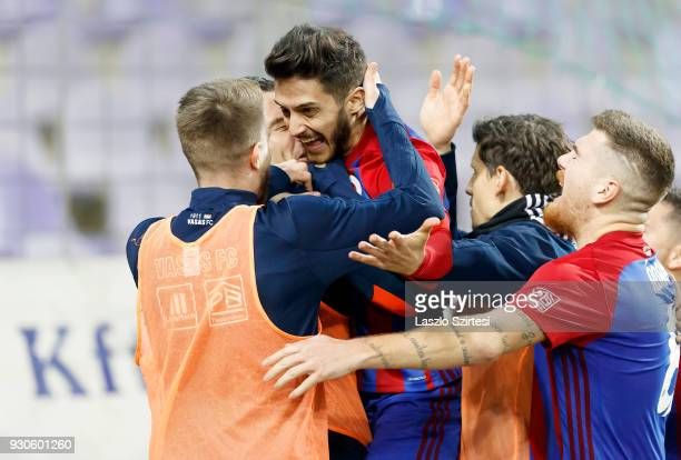 David Barczi of Vasas FC celebrates with teammates his goal during the Hungarian OTP Bank Liga match between Vasas FC and Budapest Honved at Ferenc...