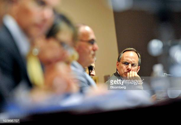 David Barger president and chief executive officer of JetBlue Airways Corp listens during a meeting of the Department of Transportation's Future of...