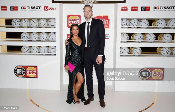 David Barlow of Melbourne United and Tiwi Barlow arrive at the 2018 NBL MVP Awards Night at Crown Palladium on February 27 2018 in Melbourne Australia