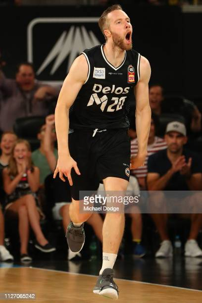 David Barlow of United celebrates a basket in the dying stages during the round 16 NBL match between Melbourne United and the New Zealand Breakers at...