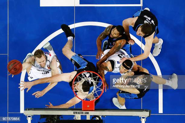David Barlow of United goes up against Alex Pledger of the Breakers during game two of the NBL semi final series between Melbourne United and the New...