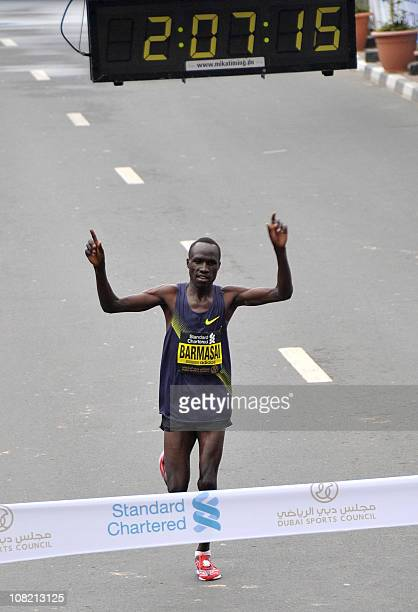 David Barmasai Tumo of Kenya wins the Dubai Marathon on January 21 2011 AFP PHOTO