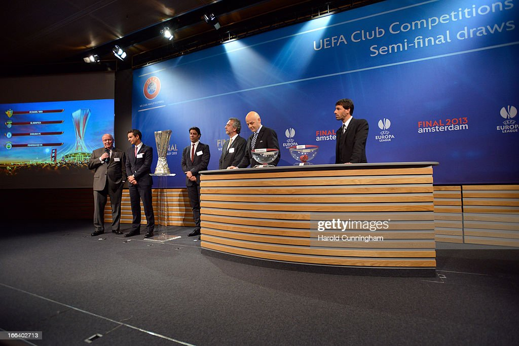 David Barnard of Chelsea FC, Bernhard Heusler of FC Basel 1833, Rui Costa of SL Benfica, Hasan Hakki of Fenerbahce SK, UEFA General Secretary Gianni Infantino and Ruud van Nistelrooy attend the UEFA Europa League semi-final draw at the UEFA headquarters on April 12, 2013 in Nyon, Switzerland.