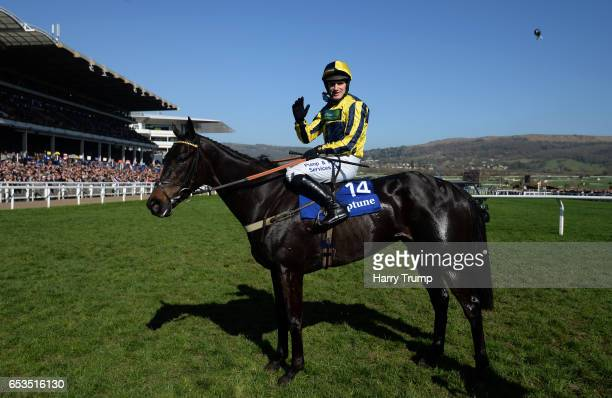 David Bass on board Willoughby Court celebrate after winning the Neptune Investment Management Novices Hurdle Race during Ladies Day of the...