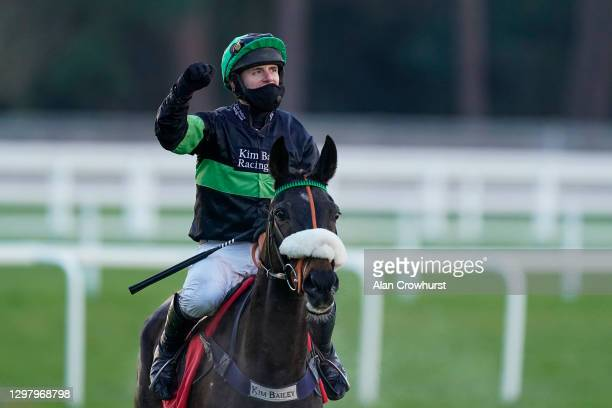 David Bass riding First Flow celebrate after winning The Matchbook Betting Exchange Clarence House Chase at Ascot Racecourse on January 23, 2021 in...