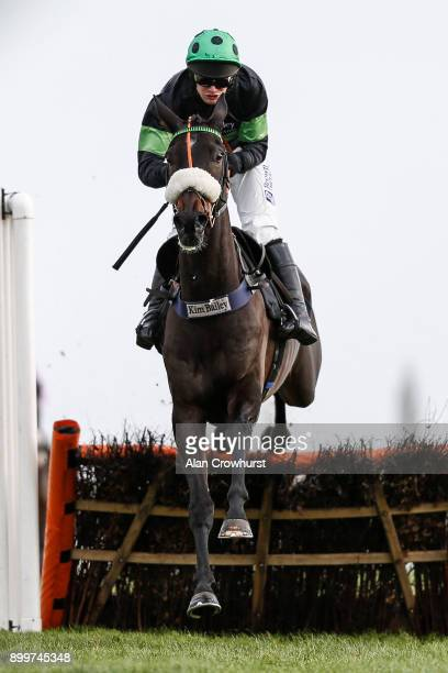 David Bass riding First Flow clear the last to win The Betfred â Supports Jack Berry House❠Introductory Hurdle Race at Newbury racecourse on...