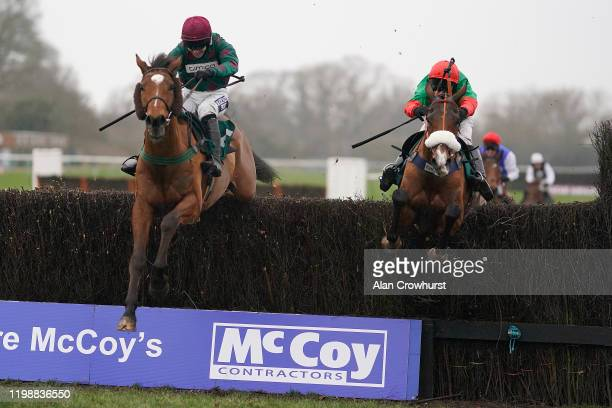 David Bass riding Two For Gold clear the last to win The McCoy Contractors 2020 Construction News-Awards Finalist Hampton Novices' Chase at Warwick...