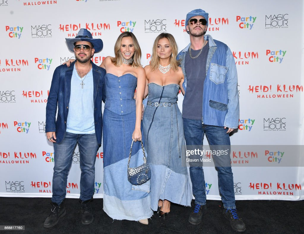 David Batista, Keltie Knight, Vanessa Ray, and Jake Wilson attend Heidi Klum's 18th annual Halloween Party presented by Party City at the Magic Hour Rooftop Bar & Lounge on October 31, 2017 in New York City.