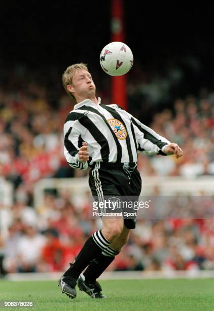 David Batty of Newcastle United in action during the FA Carling Premiership match between Arsenal and Newcastle United at Highbury on May 3 1997 in...