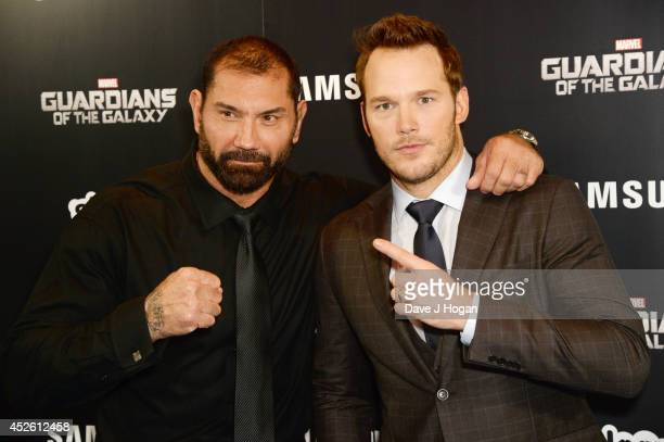 David Bautista and Chris Pratt attend the European premiere of Guardians Of The Galaxy at The Empire Leicester Square on July 24 2014 in London...