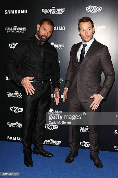 David Bautista and Chris Pratt attend the UK Premiere of Guardians of the Galaxy at Empire Leicester Square on July 24 2014 in London England