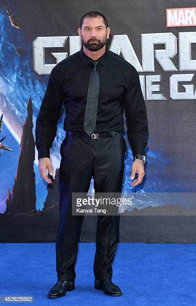 David Bautista attends the European Premiere of 'Guardians of the Galaxy' at Empire Leicester Square on July 24 2014 in London England