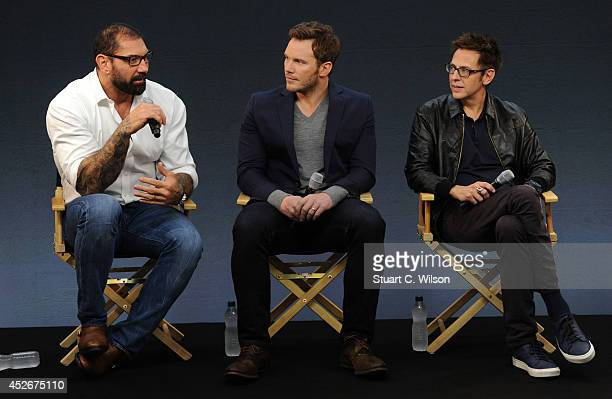 David Bautista Chris Pratt and James Gunn attend the Meet the FilmMakers event for Guardians of the Galacy on July 25 2014 in London England
