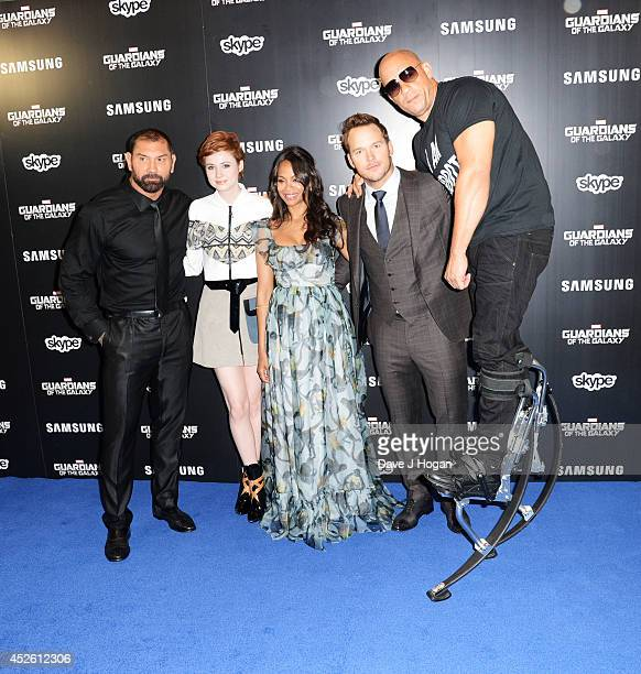 David Bautista Karen Gillan Zoe Saldana Chris Pratt and Vin Diesel attend the European premiere of Guardians Of The Galaxy at The Empire Leicester...