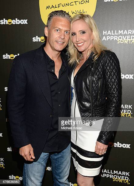 David Beador and tv personality Shannon Beador attend Shoebox's 29th Birthday Celebration hosted by Rob Riggle at The Improv on June 10 2015 in...