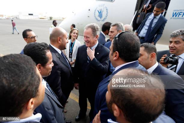 David Beasley Executive Director of the UN World Food Programme arrives at Sanaa International aiport on July 24 in the Yemeni capital UNICEF and WHO...