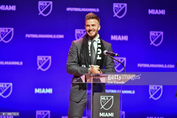 David Beckham addresses the crowd during the press conference announcing an MLS franchise in Miami at the Knight Concert Hall on January 29 2018 in...