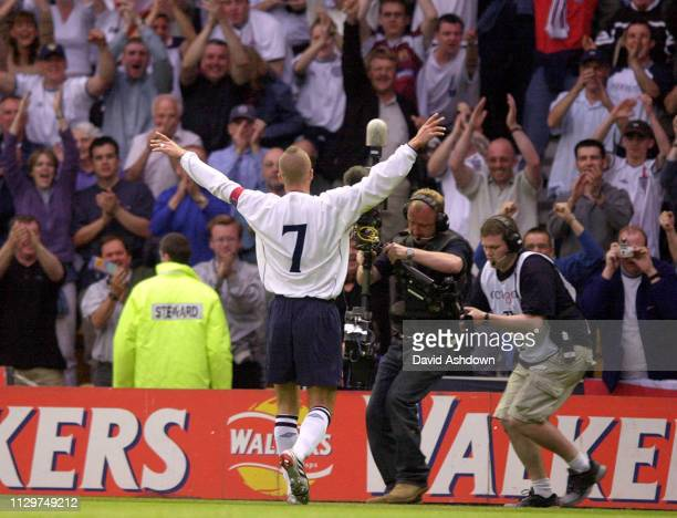 David Beckham after scoring England V Mexico at Pride Park Derby 25th may 2001