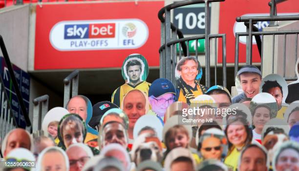 David Beckham among the Oxford United cardboard cut out fans during the Sky Bet League One Play Off Final between Oxford United and Wycombe Wanderers...