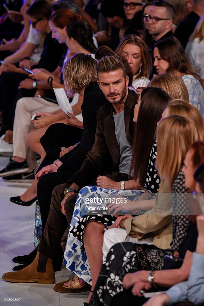 David Beckham and Anna Wintour attend the Victoria Beckham Women's Fashion Show during New York Fashion Week on on September 11, 2016 in New York City.